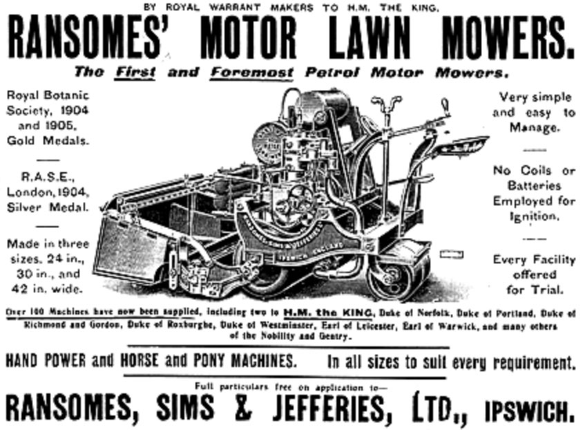 The first petrol-powered lawnmower